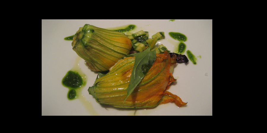 Baccalà/Cod stuffed courgette flowers