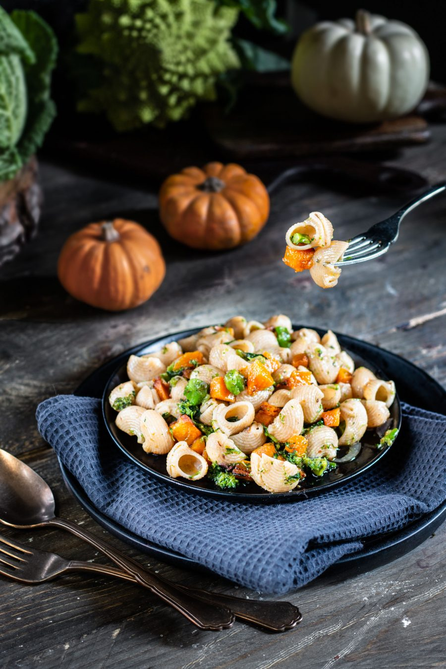 Pipe rigate pasta with romanesco broccolo and pumpkin
